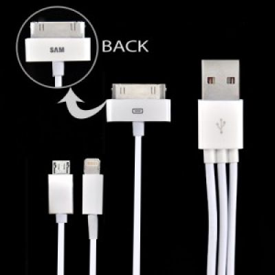 3in1 USB Adapter-Kabel für iPhone 5, iPad 4, iPod und Samsung