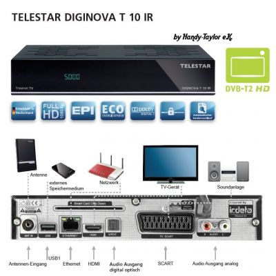 TELESTAR DIGINOVA T 10 IR DVB-T2 Freenet TV HD Receiver