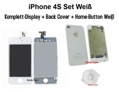 iPhone 4S Set Weiß (Display+Back Cover+Home-Button)