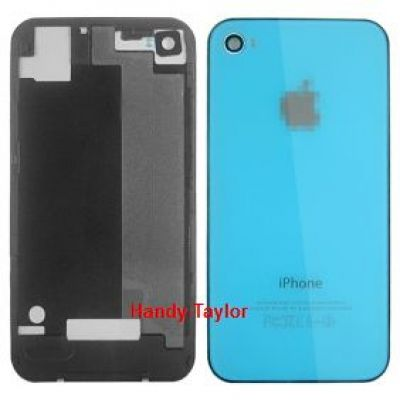 iPhone 4S Back Cover Hellblau mit Glas