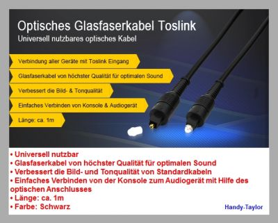 1m Optisches Toslink Audio Glasfaser-Kabel